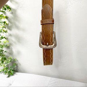 Tony lama tan Aztec stitch silver buckle belt
